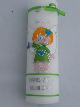 Schutzengelchen Junge SK103 Apfelgrün Holoflitter / Silberschrift