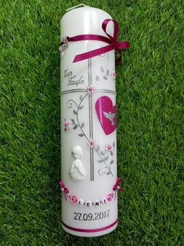 Taufkerze TK109-9 Pink-Silber mit Engel & Herz