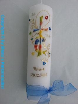 Taufkerze TK172 in Regenbogen-Blau