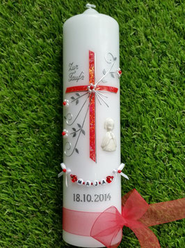 Taufkerze TK130 sehr edel Rot Glitzer & Engel in weiß