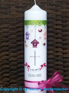 Taufkerze TK300 Vogelhaus Trio Pink