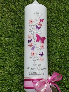 Taufkerze TK089 Schmetterlings- Blumenranke Pink-Rosa-Altrosa-Brombeerlila-Flieder Holoflitter