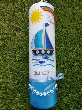 Taufkerze Boot TK314-U Hellblau-Türkis-Dunkelblau Holoflitter / Regenbogen & Sonne