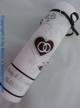 Hochzeitskerze klassisch HK208 Dunkelbraun Uni-Silber