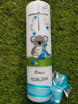"Taufkerze ""Koala"" TK217 Türkis-Hellblau-Apfelgrün Holoflitter"