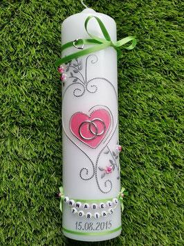 Hochzeitskerze klassisch HK208 Apfelgrün-Rosa Flitter & Buchstabenketten