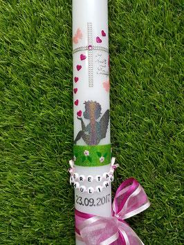 Taufkerze SK154-1 SCHUTZENGEL sitzend Anthrazit-Pink-Rosa Holoflitter / Doppelschleife