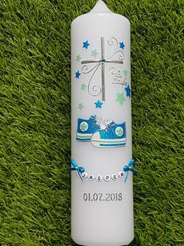 Taufkerze TK099 Babychucks Türkis-Zartmint Holoflitter mit Sterne / Buchstabenkette
