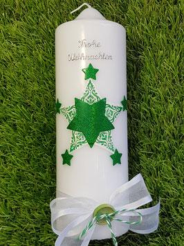 Weihnachtskerze WK101 Sterne Weiß & Grasgrün Holoflitter