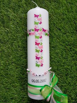 Taufkerze TK202 Kreuz Schmetterlinge Pink-Rosa-Apfelgrün-Silber Flitter/ Bänder Rosa-Grasgrün
