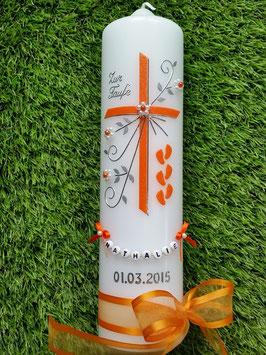Taufkerze TK135 >> 6 Füsschen in Orange Flitter
