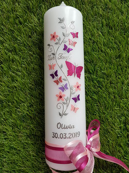 Taufkerze TK089 Schmetterlings- Blumenranke Pink-Rosa-Altrosa-Brombeerlila-Flieder Holoflitter / Zur Taufe