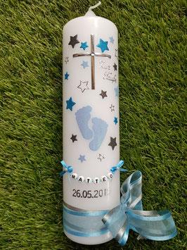 Taufkerze TK096 Große Füsschen Hellblau-Anthrazit-Türkis Holoflitter mit Silber