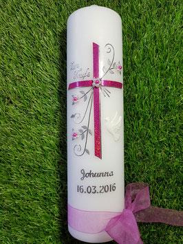 Taufkerze TK139 Taube Pink Holoflitter & Silberschrift
