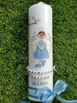 Taufkerze Schutzengelkerze SK119 Hellblau Holoflitter / Hellblaues Satin-Organzaband / Buchstabenkette