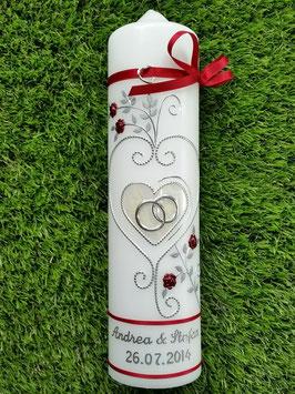 Hochzeitskerze klassisch HK208 Creme Marmoriert-Bordeaux-Silber