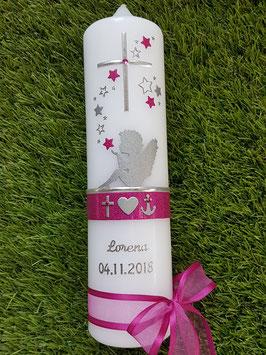 Taufkerze SK154-1 SCHUTZENGEL sitzend Pink Holoflitter & Silberschrift / Glaube-Liebe-Hoffnung