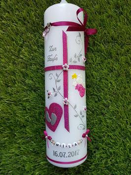 Taufkerze Kreuz TK109-MM Pink Holoflitter-Silber