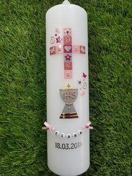 Mosaik Tauf- Kommunionkerze KK096 / Rosa-Altrosa-Pink Holoflitter mit Rosegold & Silber