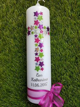 Taufkerze TK201 Kreuz Pink-Silber-Brombeerlila-Apfelgrün Holoflitter / Silberschrift