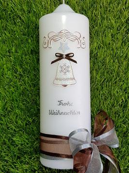 Weihnachtskerze WK107 mit Glocke Weiß-Braun-Silber Holoflitter