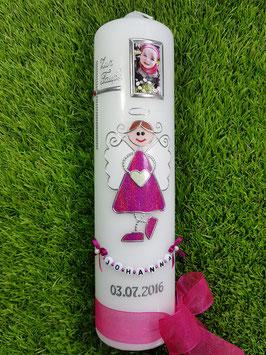 Taufkerze Schutzengelkerze SK119 Pink Holoflitter mit Foto / Buchstabenkette / Band kräftig