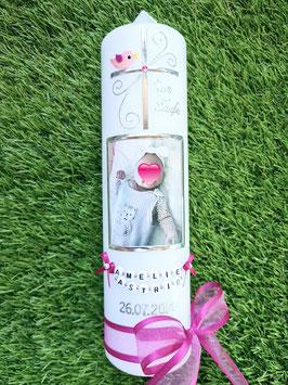 Taufkerze Kreuz & Foto TK100 Pink-Rosa Holoflitter / Ohne Sterne
