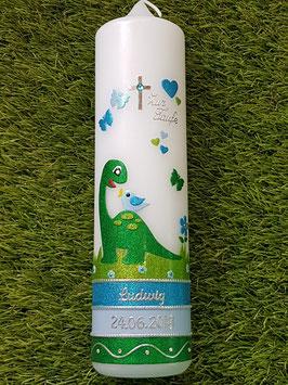 Taufkerze TK198-U  Dinosaurier Grasgrün-Türkis-Apfelgrün-Hellblau Holoflitter