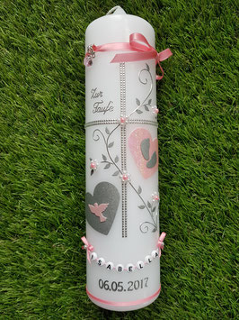 Taufkerze TK109 Klassisch Rosa & Zartrosa  Holoflitter & Buchstabenkette