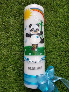Taufkerze TK196 Panda Junge Schwarz-Weiß-Hellblau-Türkis Holoflitter / Buchstabenkette