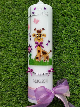 "Taufkerze TK278 ""Giraffe"" in Gelb-Braun-Brombeerlila-Rosa Flitter"