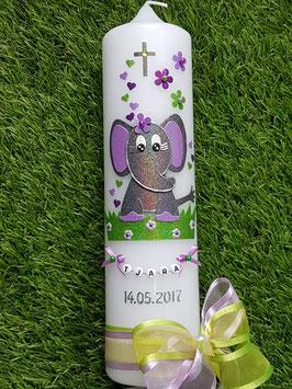 Taufkerze Elefant TK210-8 Anthrazit-Flieder-Apfelgrün-Brombeerlila Holoflitter