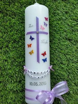 Taufkerze Regenbogen Schmetterlinge TK190 Flieder Flitter