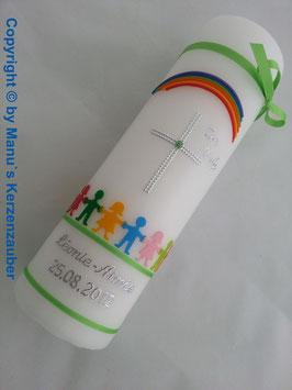 Taufkerze TK112 Hand in Hand / Apfelgrün mit Silberschrift