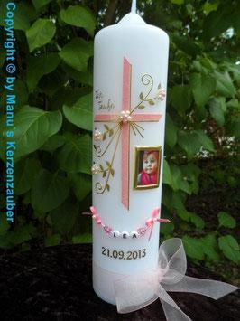 Taufkerze TK130 mit Foto in Rosa Marmoriert-Gold Flitter Buchstabenkette Weiß!