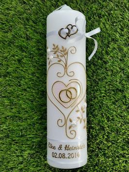 Hochzeitskerze klassisch HK208 Leicht Rosa Flitter-Gold & Wachsrosen