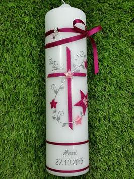 Taufkerze TK102-2 Pink-Rosa Holoflitter mit Sterne Silberschrift