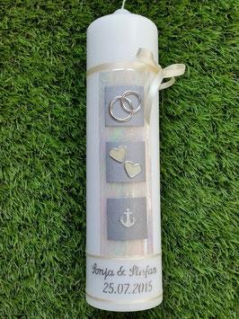 Sehr edle Hochzeitskerze HK210-1 Perlmutt-Creme-Silber & Anker