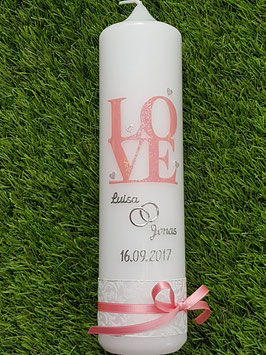 "Hochzeitskerze ""Love"" HK095 Rosa Holoflitter"