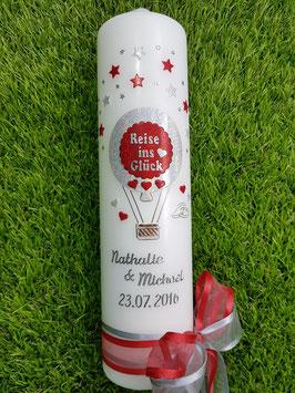 "Hochzeitskerze ""Reise ins Glück"" Heißluftballon HK201 Silber-Rot Holoflitter"