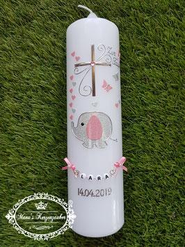 Taufkerze Elefant TK210-1 & Silberschrift Silber-Rosa Holoflitter/ Ohne Wiese / Buchstabenkette
