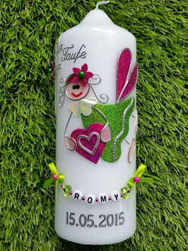 Patenkerze SK116 Schutzengel Mädchen Apfelgrün-Pink Holoflitter