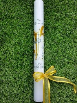 Kommunion - Konfirmationskerze KK605 Gelb-Creme Holoflitter mit Satinschleife