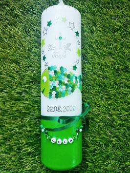 "Taufkerze oder Kommunionkerze Fisch Herzschuppen© TK196-U mit Sterne / Apfelgrün-Grasgrün-Pastellgrün-Mint-Silber Holoflitter  >> DAS ORIGINAL©"""