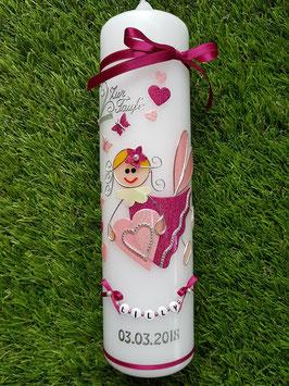 Taufkerze SK116 Schutzengel Pink-Rosa Flitter mit Herzen & Schmetterlinge