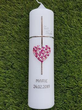 Taufkerze TK205 Kreuz Herzmosaik in Rosa-Altrosa-Pink-Silber Holoflitter