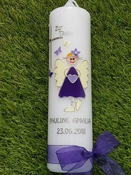 Taufkerze Schutzengelkerze SK119 Dunkellila-Flieder-Creme Uni mit Schmetterlinge / Silberschrift