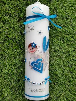 Taufkerze SK116 Schutzengel Türkis-Silber Holoflitter mit Blüten
