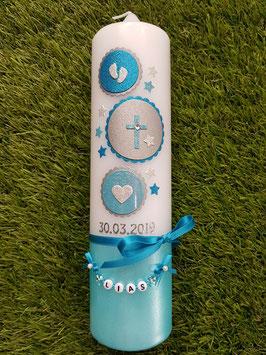 Taufkerze Symbole TK306-U in Pastellblau-Türkis-Silber Holoflitter / Füsschen-Kreuz-Herz / Buchstabenkette