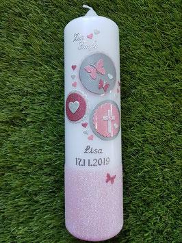 Taufkerze Symbole TK306-U in Rosa-Altrosa-Silber Holoflitter/ Rosa Flitteruntergrund